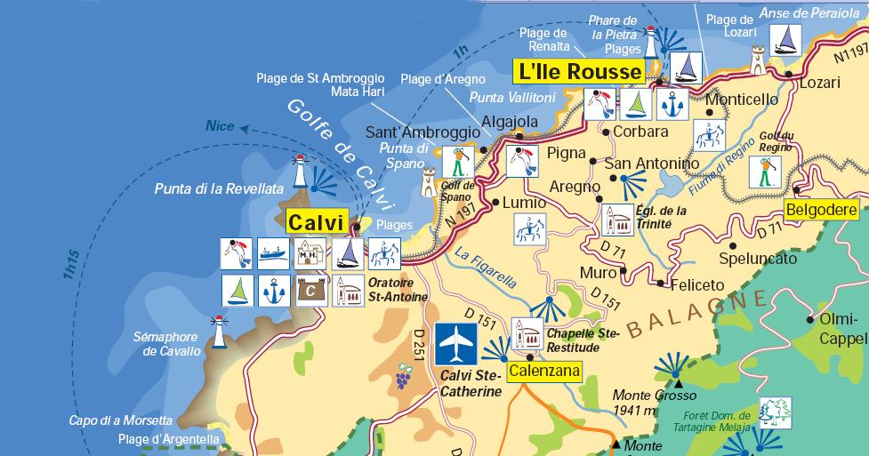 Carte Corse Calvi Ile Rousse.La Baie De Calvi