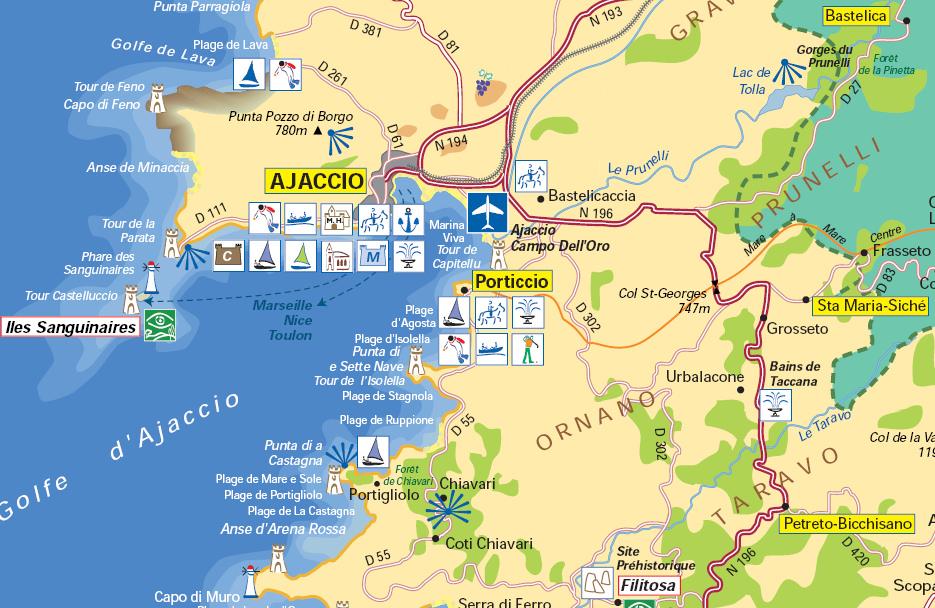 Carte Corse Ile Sanguinaire.Golfe Ajaccio
